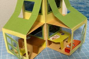 オリジナルポップアップ型紙「ポップアップハウス」の作り方