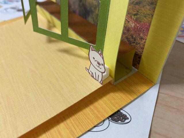 ポップアップカードオリジナル型紙窓からの風景
